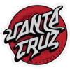 "Santa Cruz Skateboards 3.25"" x 3.5"" Damaged Dot Black / Grey / Red Skate Sticker"
