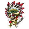 "Warehouse Skateboards Indian Temporary Tattoo - 3"" x 2.5"""