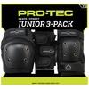 ProTec Street Gear 3 Pack Black Knee, Elbow, & Wrist Pad Set - Junior
