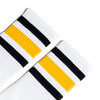 Socco Socks Unisex White Triple Striped Black / Gold Crew Tube Socks - Large / X-Large (10-13)