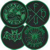 Creature Skateboards Fiend Club Black / Green 4 Pack Patch Set