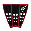 Famous Surf Hatteras Black / Red Surfboard Traction Pad - 3 Piece