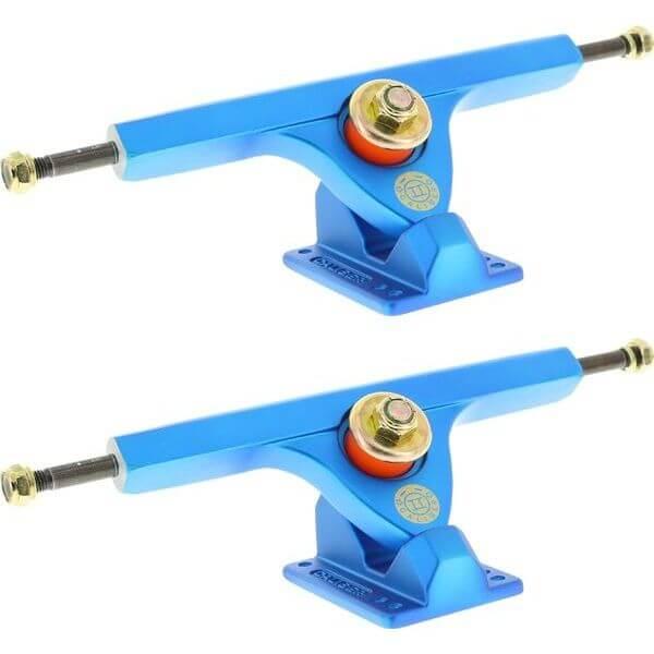 """Caliber Trucks II Forty-Four Satin Blue Skateboard Reverse Kingpin Trucks 44 Degree Baseplate - 7.25"""" Hanger 10.0"""" Axle (Set of 2)"""
