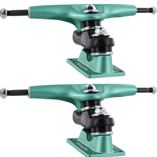 "Gullwing Trucks 9.0"" Sidewinder II Aqua / Black / Aqua Skateboard Double Kingpin Trucks - 6.25"" Hanger 9.0"" Axle (Set of 2)"