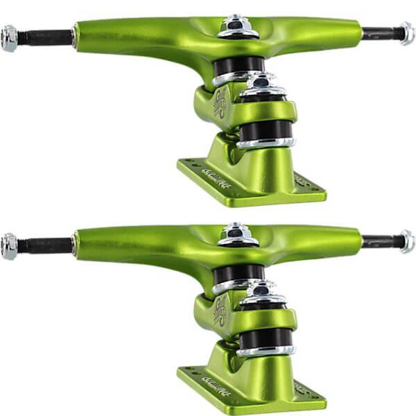 """Gullwing Trucks 9.0"""" Sidewinder II Lime Green Skateboard Double Kingpin Trucks - 6.25"""" Hanger 9.0"""" Axle (Set of 2)"""