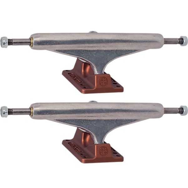 "Independent Stage 11 - 159mm Hollow Standard Silver Anodized Dark Red Skateboard Trucks - 6.14"" Hanger 8.75"" Axle (Set of 2)"
