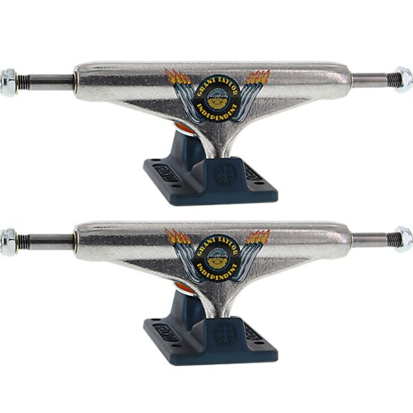 """Independent Grant Taylor Stage 11 - 139mm Hollow Standard Engine Silver / Ano Blue Skateboard Trucks - 5.39"""" Hanger 8.0"""" Axle (Set of 2)"""