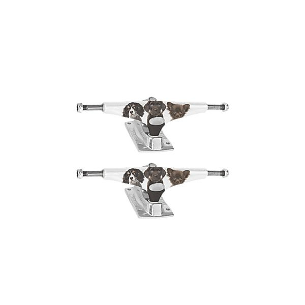 "Krux Trucks Standard Puppies White / Silver Skateboard Trucks - 5.35"" Hanger 8.0"" Axle (Set of 2)"