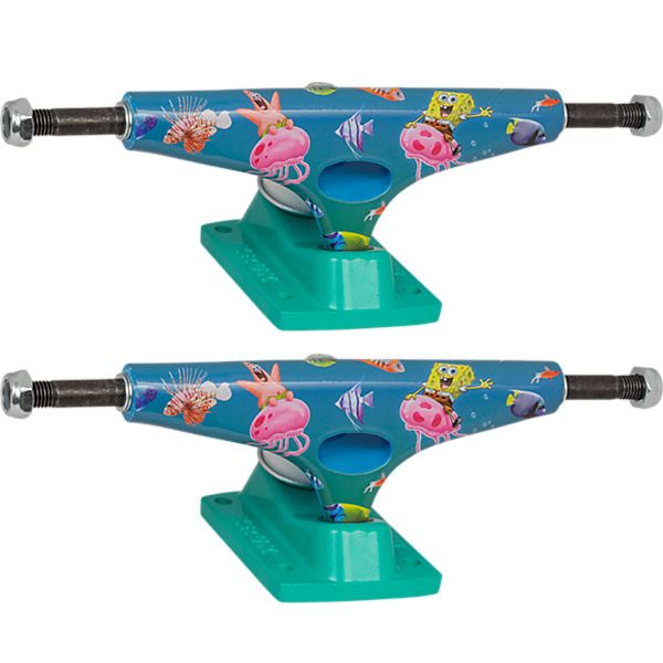"Krux Trucks Standard SpongeBob SquarePants Bikini Bottom Blue / Green Skateboard Trucks - 5.35"" Hanger 8.0"" Axle (Set of 2)"