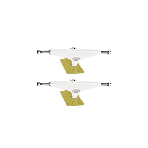 """Krux Trucks Standard DLK White / Gold Skateboard Trucks - 5.35"""" Hanger 8.0"""" Axle (Set of 2)"""