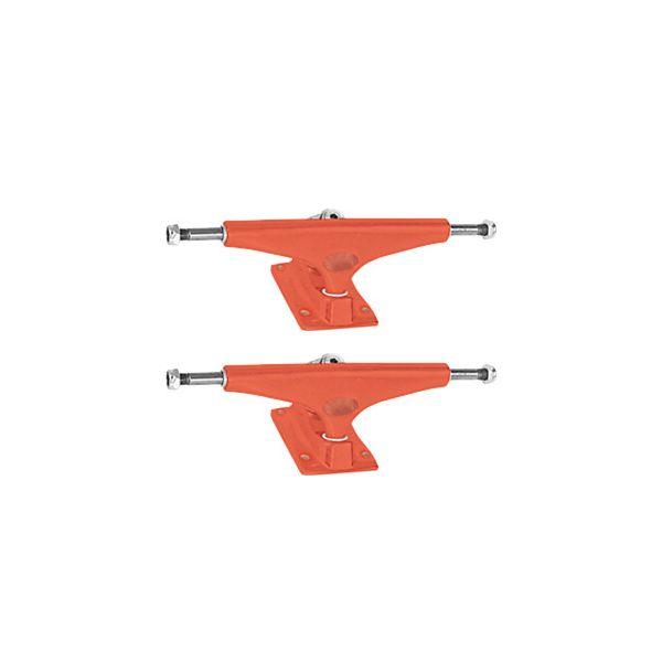"""Krux Trucks Standard DLK Matte Krome Red Skateboard Trucks - 5.8"""" Hanger 8.5"""" Axle (Set of 2)"""