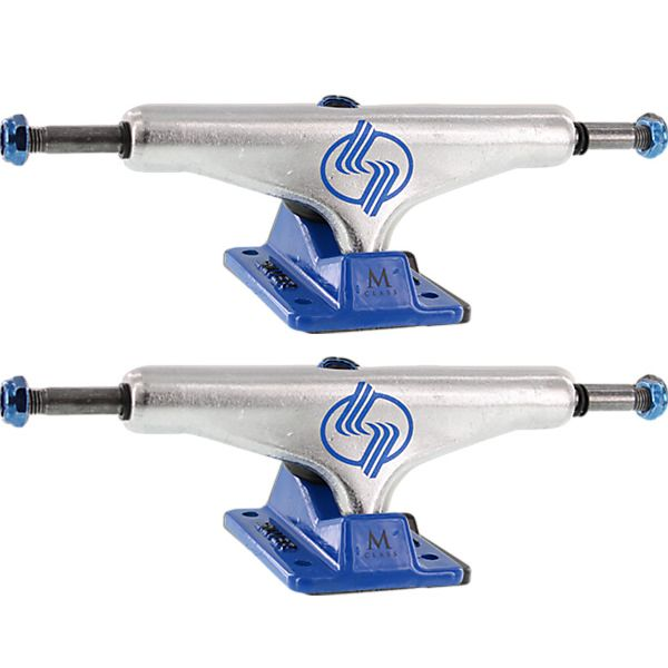 "Silver Trucks M-Class Hollow Polished / Blue Skateboard Trucks - 5.25"" Hanger 8.0"" Axle (Set of 2)"