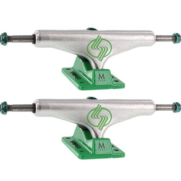 "Silver Trucks M-Class Hollow Polished / Green Skateboard Trucks - 5.5"" Hanger 8.25"" Axle (Set of 2)"