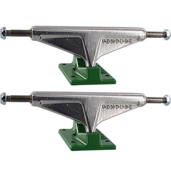 """Venture Trucks OG Dot High Polished / Green Skateboard Trucks - 5.25"""" Hanger 8.0"""" Axle (Set of 2)"""