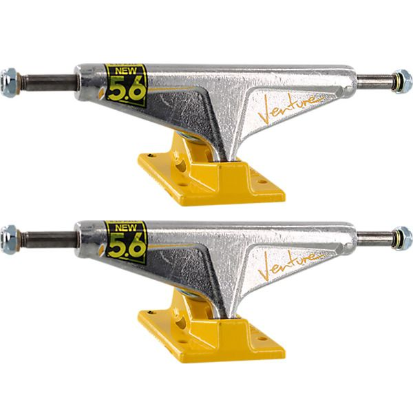 "Venture Trucks '92 Team High Polished / Yellow Skateboard Trucks - 5.6"" Hanger 8.25"" Axle (Set of 2)"
