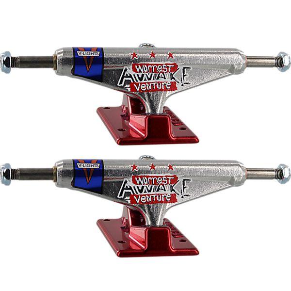 "Venture Trucks Bobby Worrest Awake Low Polished / Red Skateboard Trucks - 5.0"" Hanger 7.75"" Axle (Set of 2)"