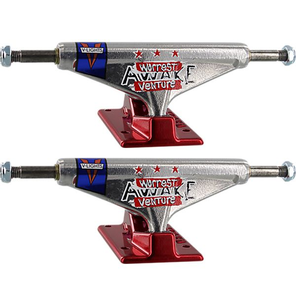 """Venture Trucks Bobby Worrest Awake High Polished / Red Skateboard Trucks - 5.0"""" Hanger 7.75"""" Axle (Set of 2)"""