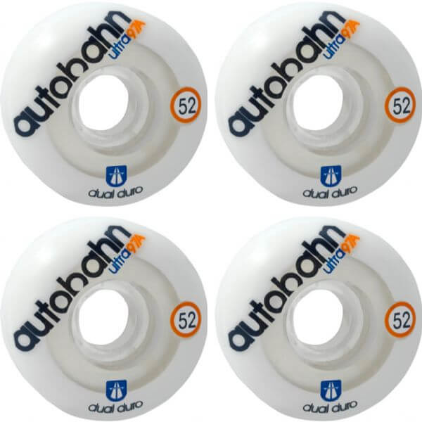 Autobahn Wheel Company Dual Durometer Ultra White / Clear Skateboard Wheels - 52mm 97a (Set of 4)
