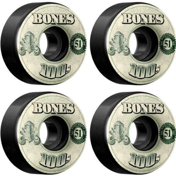 Bones Wheels 100's OG #11 V4 Money Black Skateboard Wheels - 51mm 100a (Set of 4)