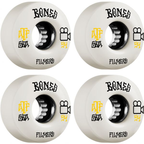 Bones Wheels ATF Filmers White Skateboard Wheels - 54mm 80a (Set of 4)