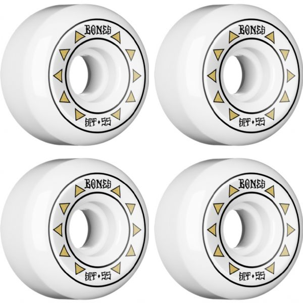 Bones Wheels SPF Arrows White / Gold Skateboard Wheels - 55mm 81b (Set of 4)