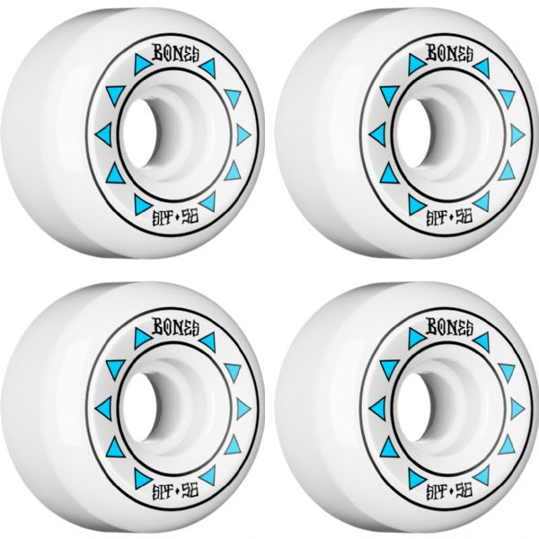 Bones Wheels SPF Arrows White / Blue Skateboard Wheels - 56mm 84b (Set of 4)