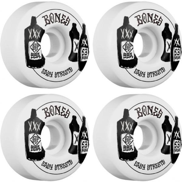 Bones Wheels STF Speak Easies Easy Streets V1 White Skateboard Wheels - 53mm 99a (Set of 4)