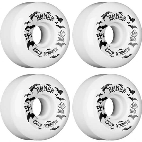 Bones Wheels STF Bats Easy Streets V5 Sidecuts White Skateboard Wheels - 54mm 99a (Set of 4)