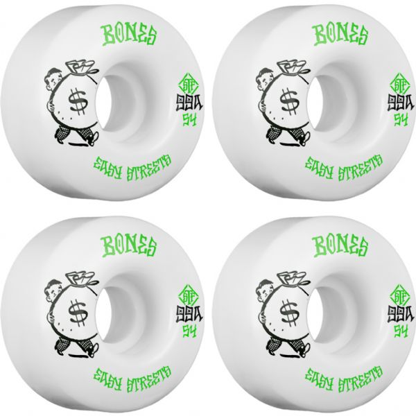 Bones Wheels STF Easy Streets Standard Money White / Green Skateboard Wheels - 54mm 99a (Set of 4)