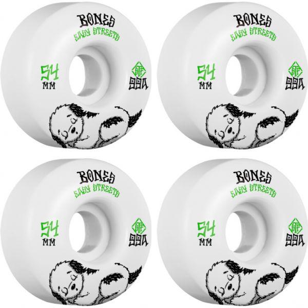 Bones Wheels STF Easy Streets Fattie Rest White / Green Skateboard Wheels - 54mm 99a (Set of 4)