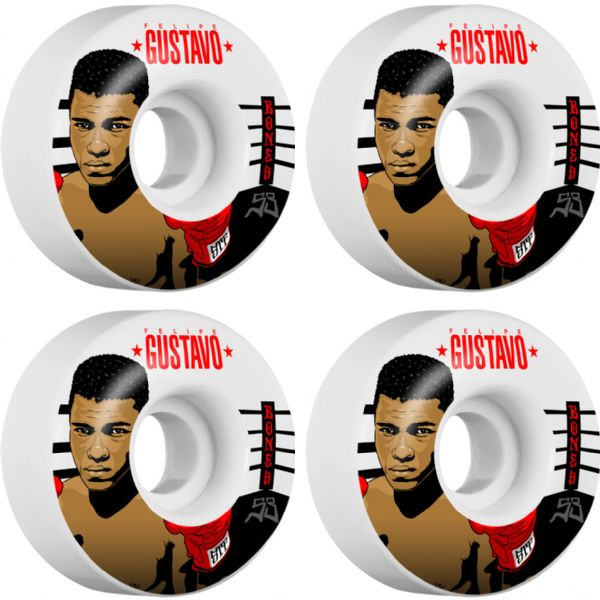 Bones Wheels Felipe Gustavo Pro STF Ali White Skateboard Wheels - 53mm 103a (Set of 4)