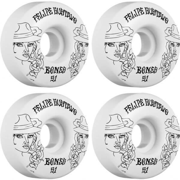 Bones Wheels Felipe Gustavo Pro STF Chica White / Black Skateboard Wheels - 51mm 83b (Set of 4)