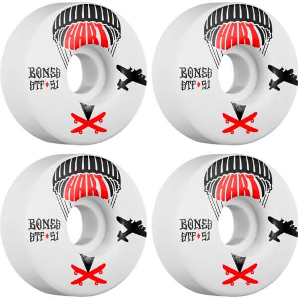 Bones Wheels Paul Hart Pro STF Drop White Skateboard Wheels - 51mm 83b (Set of 4)