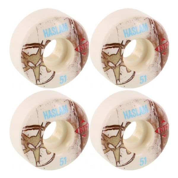 Bones Wheels Chris Haslam Pro STF Vintage White Skateboard Wheels - 51mm 83b (Set of 4)