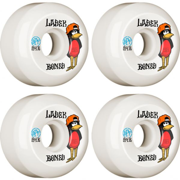 Bones Wheels Bucky Lasek SPF P5 Oriole White Skateboard Wheels - 56mm 84b (Set of 4)