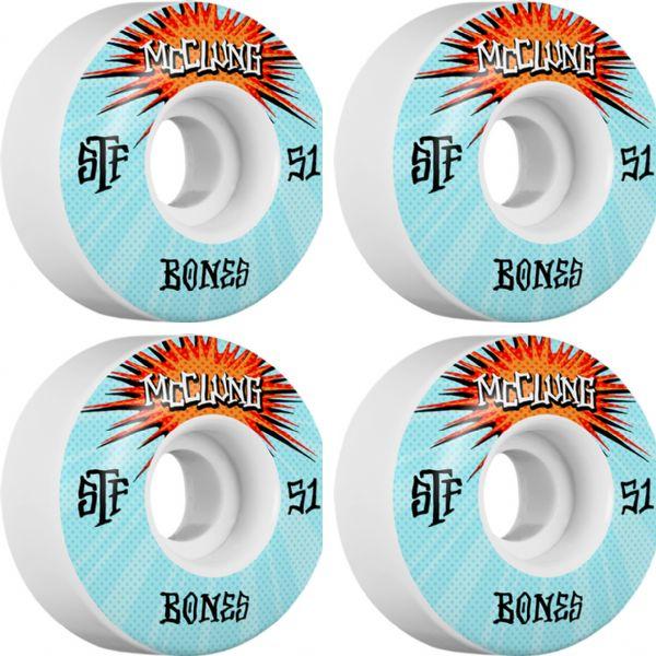 Bones Wheels Trent McClung Pro STF V1 Blast White Skateboard Wheels - 51mm 103a (Set of 4)