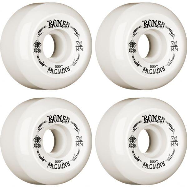 Bones Wheels Trent McClung STF Oats V5 White / Black Skateboard Wheels - 51mm 83b (Set of 4)