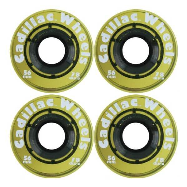 Cadillac Wheels Original Yellow Skateboard Wheels - 56mm 78a (Set of 4)