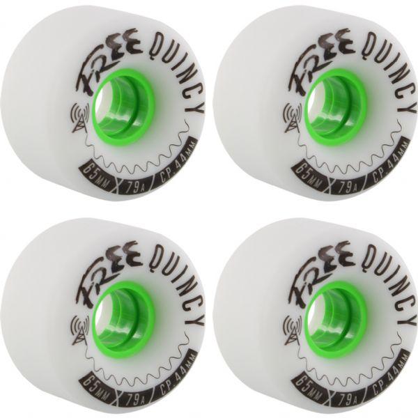 Free Wheel Co Quincy White / Green Longboard Skateboard Wheels - 65mm 78a (Set of 4)