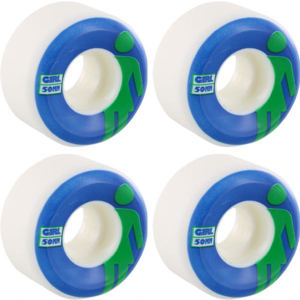 Girl Skateboards Classic OG Conical White / Blue / Green Skateboard Wheels - 50mm 99a (Set of 4)