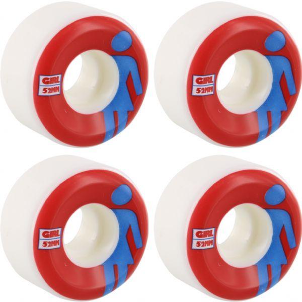 Girl Skateboards Classic OG Conical White / Red / Blue Skateboard Wheels - 52mm 99a (Set of 4)