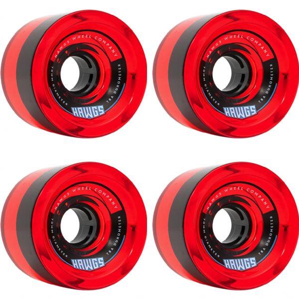 Hawgs Wheels 70's Clear Red Skateboard Wheels - 70mm 78a (Set of 4)