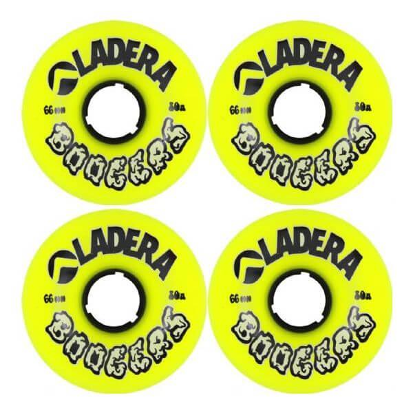 Ladera Skateboards Boogers Yellow Longboard Skateboard Wheels - 63mm 80a (Set of 4)