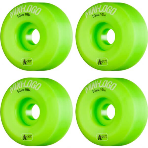 Mini Logo A-Cut Green Skateboard Wheels - 53mm 101a (Set of 4)