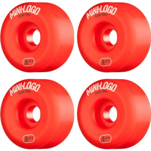 Mini Logo A-Cut Red Skateboard Wheels - 53mm 101a (Set of 4)
