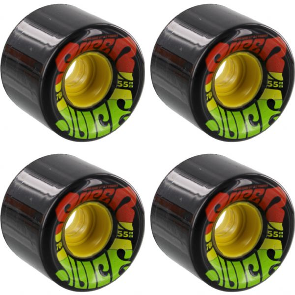 OJ Wheels Super Juice Jamaica Black / Rasta Skateboard Wheels - 55mm 78a (Set of 4)