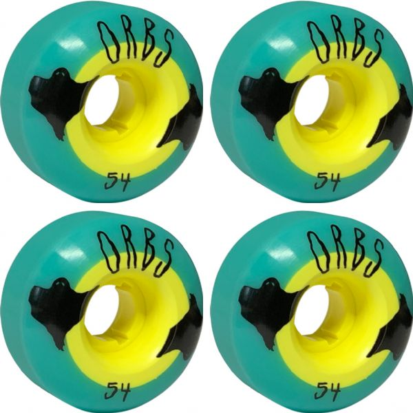 Orbs Wheels Poltergeist Teal / Yellow Skateboard Wheels - 54mm 99a (Set of 4)