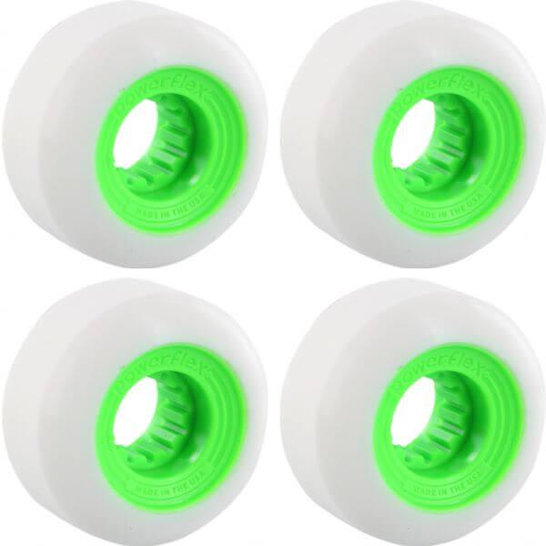 Powerflex Skateboards Gumball White / Lime Skateboard Wheels - 56mm 83b (Set of 4)