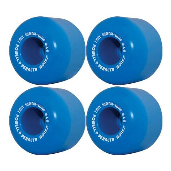 Powell Peralta Mini-Cubic Blue Skateboard Wheels - 64mm 95a (Set of 4)