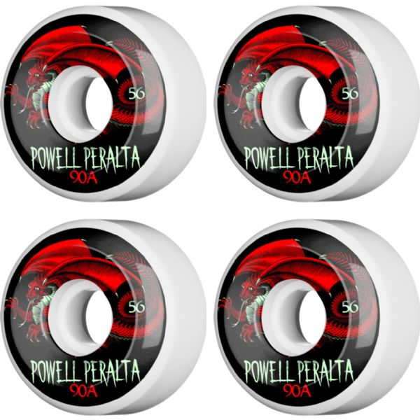 Powell Peralta Oval Dragon 4 White / Black / Red Skateboard Wheels - 56mm 90a (Set of 4)